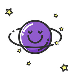 cartoon saturn character of vector image