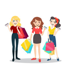 cartoon woman group with shopping bag and credit vector image vector image