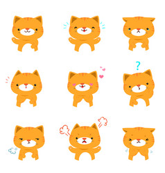 cat with different emotions cartoon vector image
