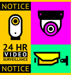 cctv notice set video surveillance vector image