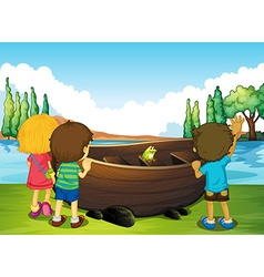 Children standing next to the boat vector image