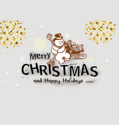 christmas with snowman vector image