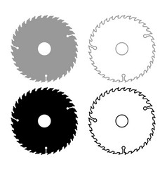 Circular disk icon outline set grey black color vector