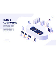 Cloud computing online backup secure computer vector