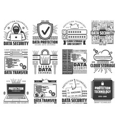 cloud data storage internet information protection vector image