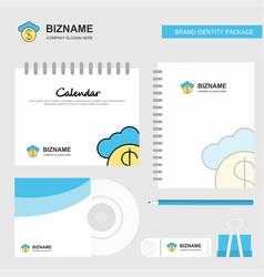cloud dollar logo calendar template cd cover vector image