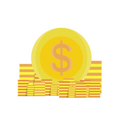 coins money gold design icon bank business vector image