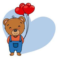 Cute bear with heart-shaped balloons vector