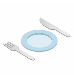 Cutlery set with plate isometric 3d icon vector image