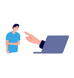 cyberbullying sad man and hand from laptop vector image