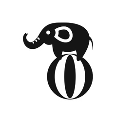 Elephant balancing on a ball icon simple style vector image