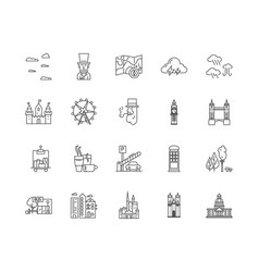 england line icons signs set outline vector image