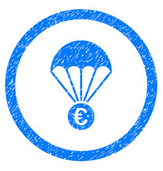 Euro parachute rounded icon rubber stamp vector