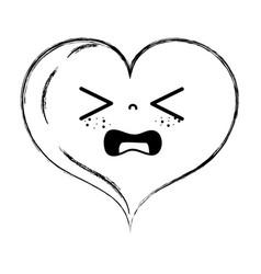 Figure gaudy heart love kawaii cartoon vector