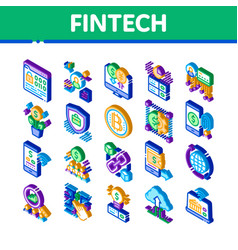 Fintech innovation isometric icons set vector