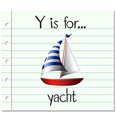 Flashcard letter y is for yacht vector