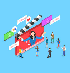 Flat isometric concept video blog vlog vector