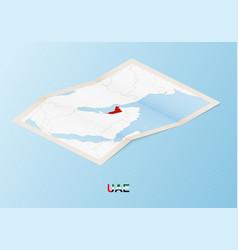 Folded paper map united arab emirates vector