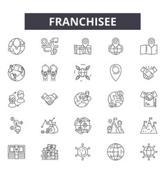 Franchisee line icons signs set outline vector