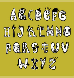 freaky characters full alphabet black and white vector image