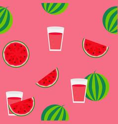 fresh watermelon juice seamless pattern background vector image