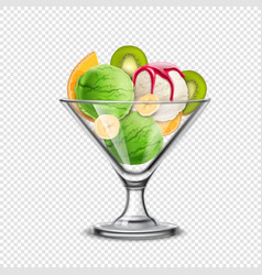 fruity icecream transparent composition vector image