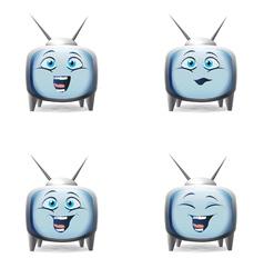 Funny cartoon retro TV character mimics vector image