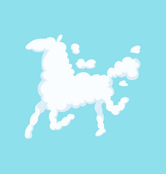 Funny cloud in form of running horse silhouette vector