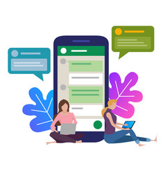 girl next to a huge phone chat in social vector image
