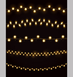 golden lights for xmas holiday vector image