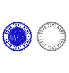 grunge your text here textured stamp seals vector image