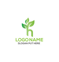 H letter eco logo design template vector