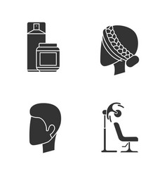 hairdress glyph icons set beauty salon services vector image