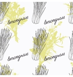 Hand drawn lemongrass branch and handwritten sign vector