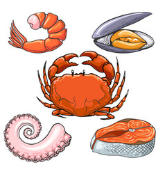 hand drawn seafood sketch vector image