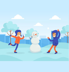 happy boys making snowman and playing snowballs in vector image