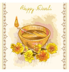 Happy diwali festive candle vector