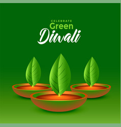Happy green diwali leaves diya eco concept vector