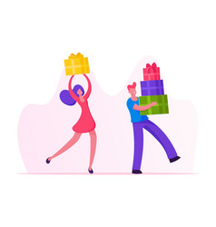 happy people carry gift boxes wrapped with festive vector image