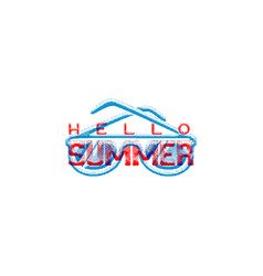 hello summer retro sign badge banner template vector image