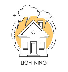 house and lightning or thunder isolated icon vector image
