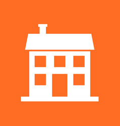 House icon in flat style on orange background vector