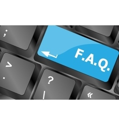 Keyboard with faq button - business concept vector