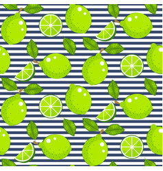 lime with green leaves on striped background vector image
