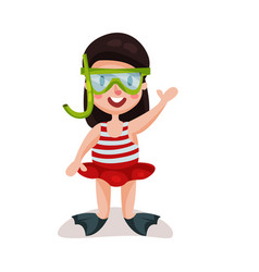 Little girl wearing red swimsuit diving mask and vector