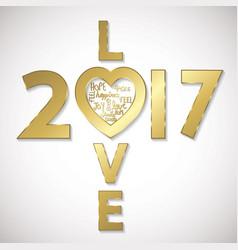 Love 2017 greeting card vector