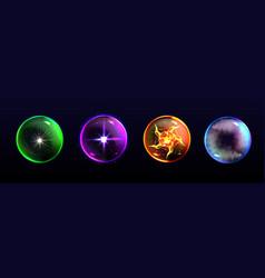 Magic spheres crystal balls different colors vector