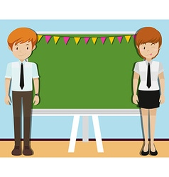 Man and woman in front of blackboard vector