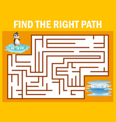Maze game find penguin walk away to pole vector