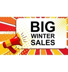 Megaphone with BIG WINTER SALES announcement Flat vector